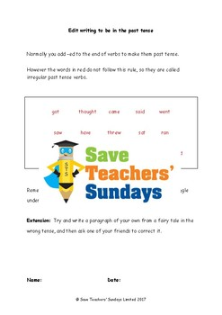 Past Tense Lesson Plan and Worksheets (3 levels of difficulty)