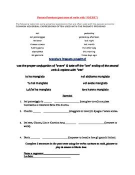 Past Tense-Passato Prossimo & Survey Assignment