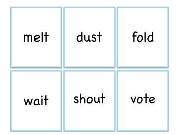 Past Tense Regular Verb Cards 'id' Allomorph