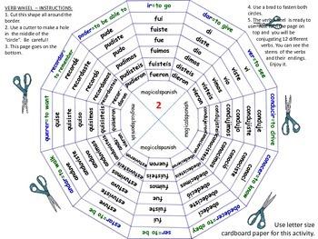 Past Tense. Regular and Irregular Verbs. Verb Wheels. PDF Document.