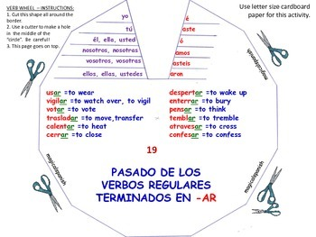 Past Tense. Regular and Irregular Verbs. Verb Wheels - PDF Document.
