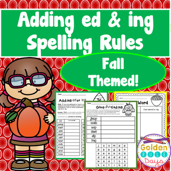 Past Tense Spelling Rules When Adding ed & ing  33 Suffix Printables