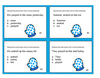 Past Tense Task Cards with a Winter Theme