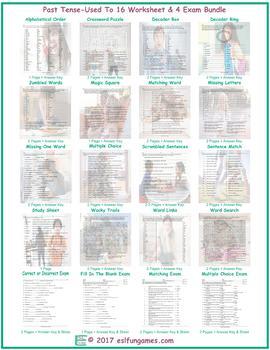 Past Tense-Used To 16 Worksheet- 4 Exam Bundle