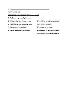 Past Tense Verb Quiz