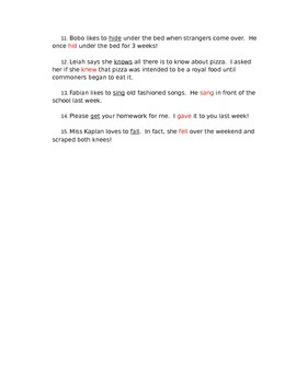 Past-Tense Verb Quiz