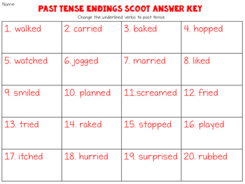 Past Tense Verb Scoot