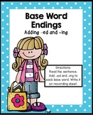 Base Word Endings Literacy Center