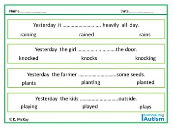 Past Tense Verbs, No Prep Worksheets, Autism, Special Education, ESL