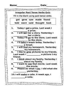 Irregular Past Tense Verbs Quiz