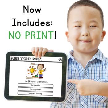 Past Tense Verbs Pack! Regular & Irregular: Illustrated! Cards, No Prep, & more