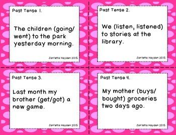 Past Tense Verbs Task Cards