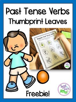 Past Tense Verbs Thumbprint Leaves FREEBIE (Regular & Irregular Past Tense)