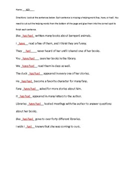 Past Tense Verbs with Had, Has and Have