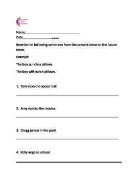 Past Tense and Future Tense Common Core Language ELA Worksheets L.1.1.E L.2.1.D