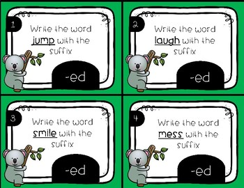 Past Tense -ed Suffix Task Cards