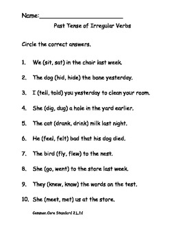 Past Tense of Irregular Verbs Worksheet for Common Core ELA
