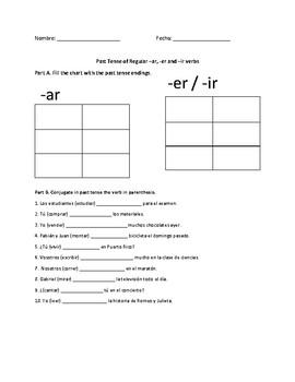 Past Tense of regular -ar, -er and -ir verbs worksheet by Sashira ...