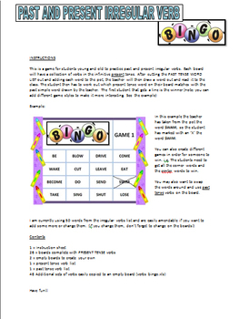 Past and Present Verbs - Bingo Game