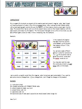 Past and Present Verbs - Bingo Game