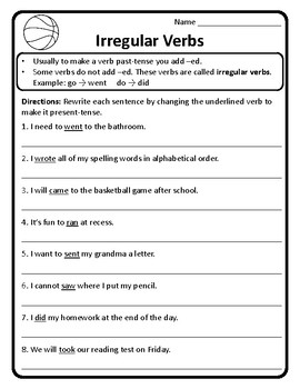 Past and Present-Tense Irregular Verbs Worksheet Irregular Verbs ...