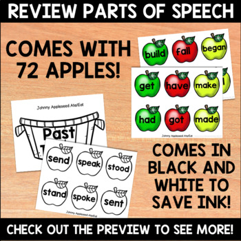 Johnny Appleseed Ate/Eat - Past and Present Tense Verbs Center