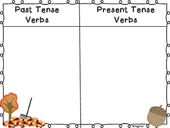 Past and Present Tense Verb Activities-Fall-Themed!