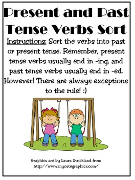 Past and Present Tense Verbs Sort