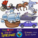 Past and Present Transportation Clip Art