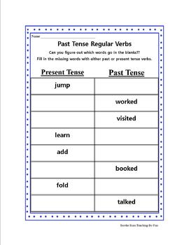 Past and Present Verbs Worksheet Bundle
