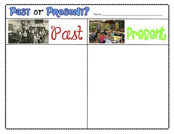Past and Present Whole Group and Independent Sorting Activity for Primary