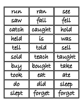 Past tense game cards