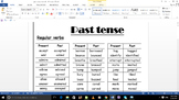 Past tense verb list