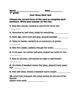 Past tense verb test