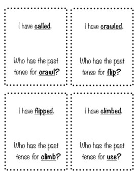 Past tense verbs matching game