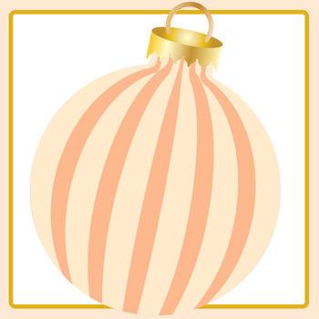 Pastal Orange Christmas Baubles / Decorations / Ornaments Clip Art Set
