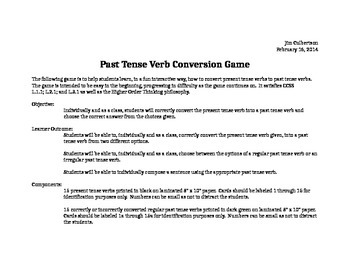 Paste Tense Verb Conversion Game