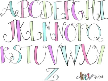 Pastel Alphabet Digital Clip Art (lowercase and uppercase letters)