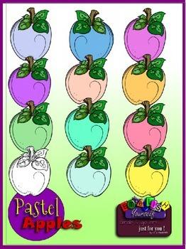 Pastel Apples Clipart (Embellish Yourself Artworks)