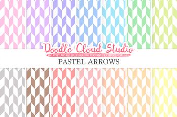 Pastel Arrows digital paper, Geometric Arrows patterns, Digital arrows
