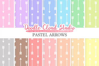 Pastel Arrows digital paper, Tribal Arrows patterns, Digital arrows