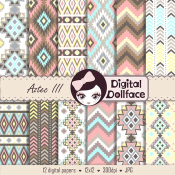Pastel Aztec Digital Paper Pack, Background Patterns