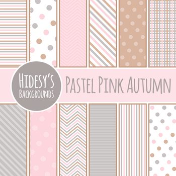 Pastel Backgrounds / Digital Paper - Pink Autumn Pink, Brown and Grey Clip Art