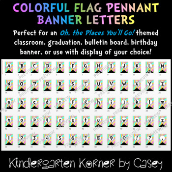 Pastel Banner Flag Pennant Letters and Numbers A to Z 0 to 9 Bulletin Board