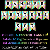 Pastel Banner Flag Pennant Letters and Numbers A to Z 0 to