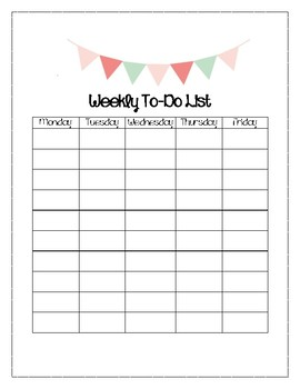 Pastel Banner Themed Weekly To-Do List