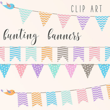 Pastel Banners Clipart, Bunting Flags {Pretty Graphics}