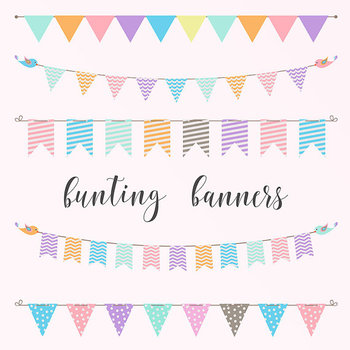 Bunting Banner, Pastel Banners Clipart, Bunting Flags, Birthday Clipart