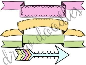 Pastel Banners Digital Clip Art Set