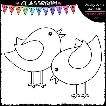 Pastel Birds Clip Art & B&W Set